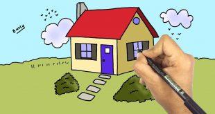 رسم بيت للاطفال , تعليم الطفل الرسم للبيوت