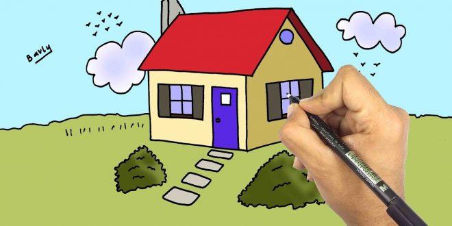 صورة رسم بيت للاطفال , تعليم الطفل الرسم للبيوت