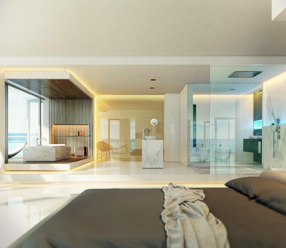 صورة حمامات زجاج داخل غرف النوم , تصميم حمام داخل غرفة معقول