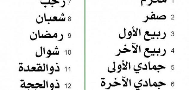 صورة ترتيب الشهور العربية , سبب تسمية الشهور العربية