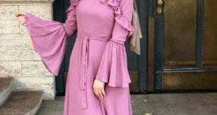 صورة تصاميم مختلفة وطرق لبسها عشان تكوني اجمل  , احدث فساتين محجبات