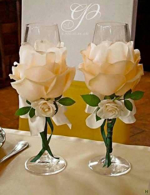 صورة تزيين كاسات العروسين 3005